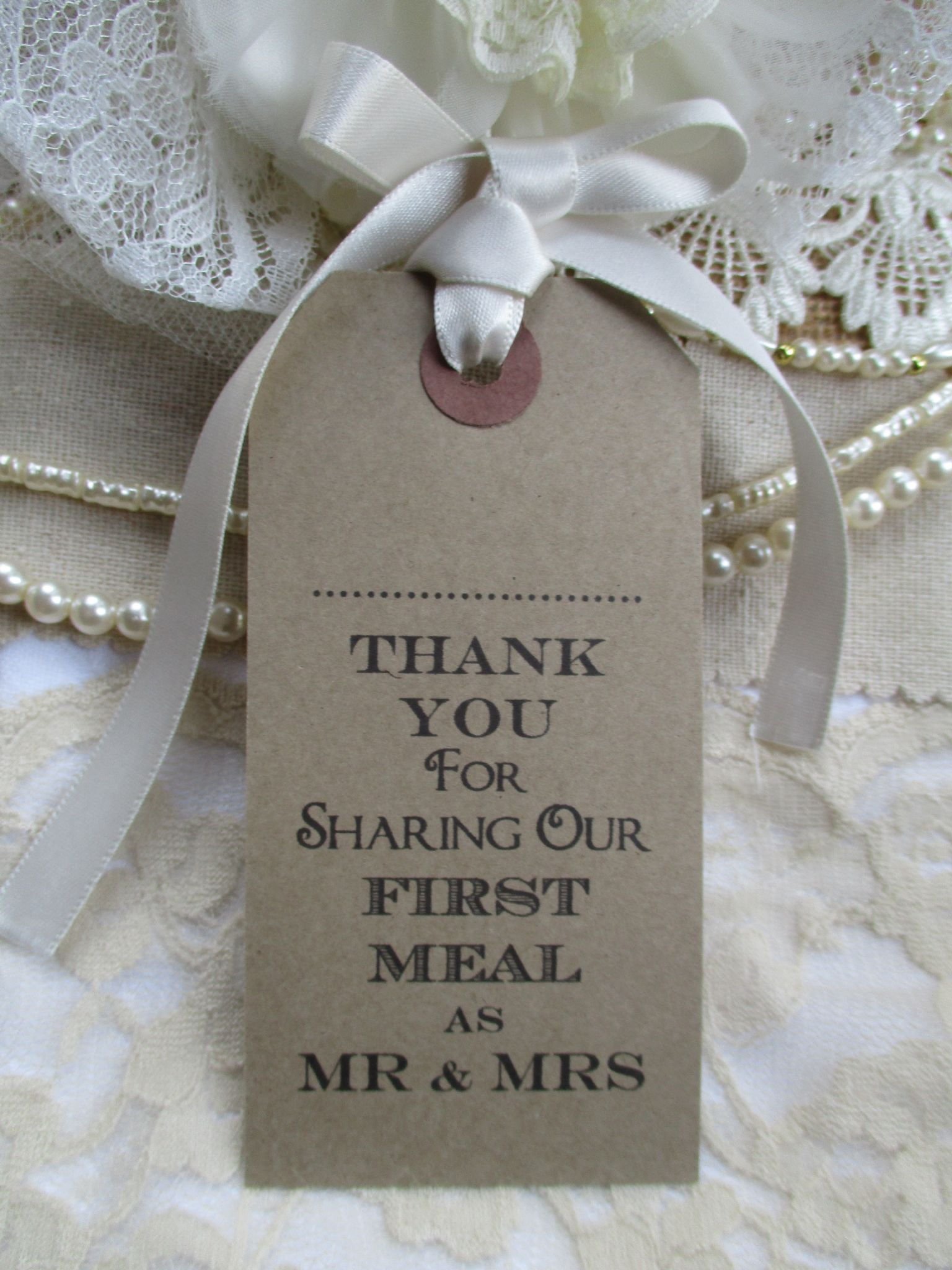10 Wedding Name Place Tags Table Place Setting Napkin Tie Kraft ...
